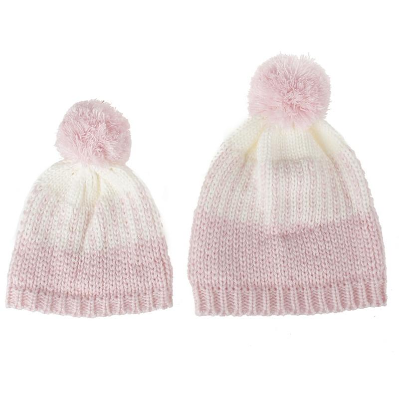 2Pcs Mother & Child Hat 2017 New Fashion Autumn Spring Winter Warm Baby Knit Beanie Fur Pom Hat Crochet Ski Cap