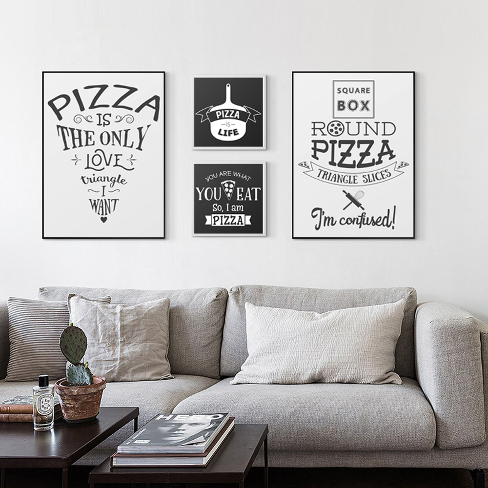 English Phrase Pizza A4 Canvas Painting Art Print Poster Picture Wall Paintings Modern Home Decor Bedside Decoration
