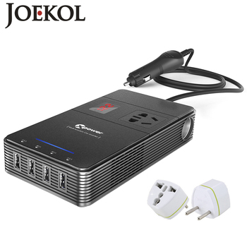 Multi-funktion 250W Power Inverter DC 12V Zu AC 230V Auto Konverter Mit 4-Port USB Lade Ports Auto Power Inverter Adapter image