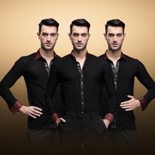 Adult male Men s modern dance Rumba cha cha Samba Jive ballroom Latin shirt Black Waltz