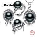 [MeiBaPJ] 925 Prata qualidade superior 100% genuíno preto pérola de água doce pingente de colar e brincos conjuntos de jóias para as mulheres