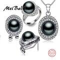 [MeiBaPJ] 925 de Plata de calidad superior 100% genuino de agua dulce negro perla colgante de collar y pendientes de la joyería para las mujeres