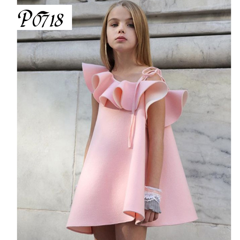 Summer 2018 Little Kids Harness Strapless Dress Pink Cool Fashion for 1 2 3 4 5 6 Years Children Girl Clothes Sundresses Dresses summer dresses for girls party dress 100% cotton summer cool and refreshing the harness green flowered dress 1 5years old