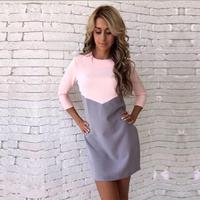 Women Autumn Winter Dress Casual Patchwork Mini Dress O Neck Three Quarter Sleeve Bodycon Dress Vestidos
