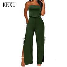 KEXU Summer Sexy Off Shoulder Sleeveless Jumpsuits Fashion Open Back Hollow Out Playsuits Women Elegant Split Macacao Feminino plus open shoulder split back pinstripe shirt