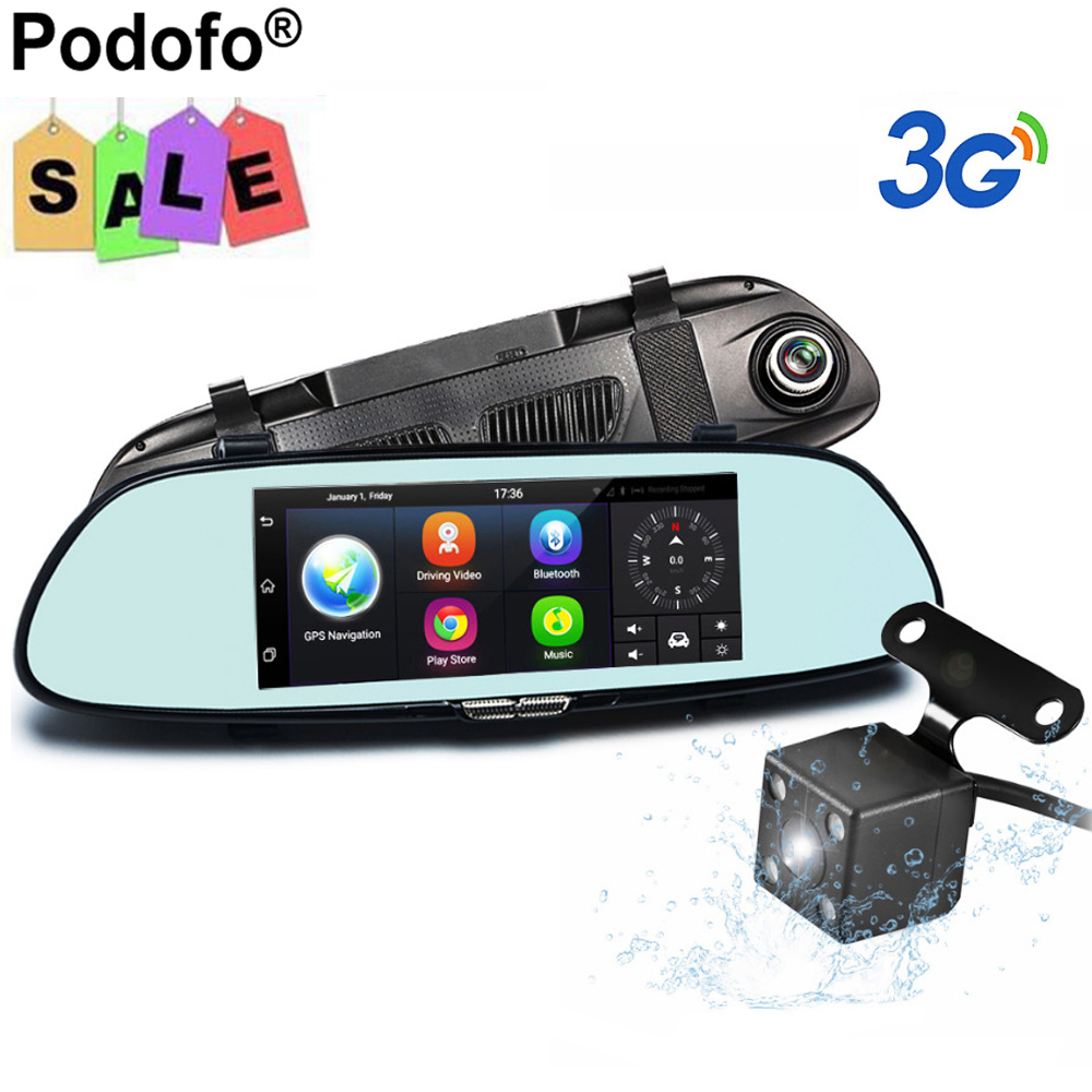 podofo 7 dash cam 3g car camera dvr gps bluetooth dual lens wifi rearview mirror video recorder. Black Bedroom Furniture Sets. Home Design Ideas
