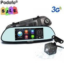 """Podofo 7 """"регистраторы 3 г автомобиля Камера DVR GPS Bluetooth Двойной объектив WI-FI Зеркало заднего вида видео Регистраторы сенсорный Android 5.0 дюймов Автомобильные видеорегистраторы"""