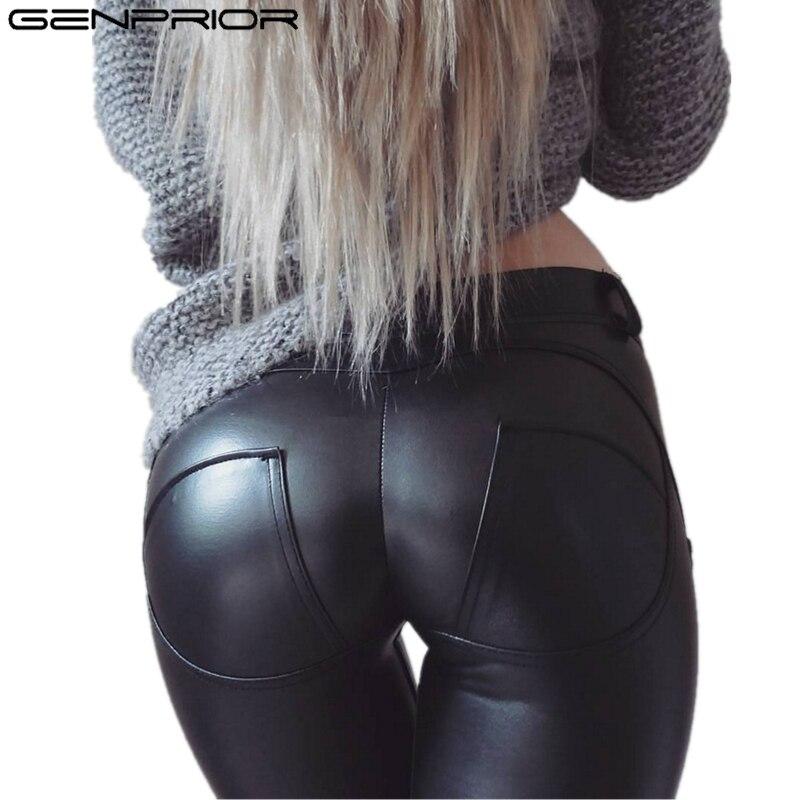 GENPRIOR Spring Large Size Skinny Lift Hip Pants PU Leather Elastic Black Pencil Pants Women Sheath Sexy Moto Casual Leggings