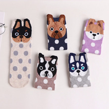 1 Pair Cute Dog Face Socks Point Dot Woman Cotton Blend Socks