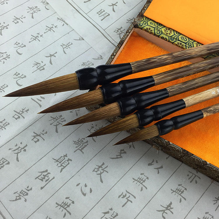 Office & School Supplies Original 5pcs New Chinese Calligraphy Brush Pen Set Traditional Weasel Hairs Ink Brush Pen Painting Supplies Chancery High-grade Gift Box