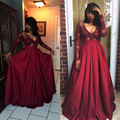Long Sleeve Prom Dresses 2016 Elegant Deep V-Neck A-Line Red Prom Gown Top Lace Floor Length Cheap African Party Gown