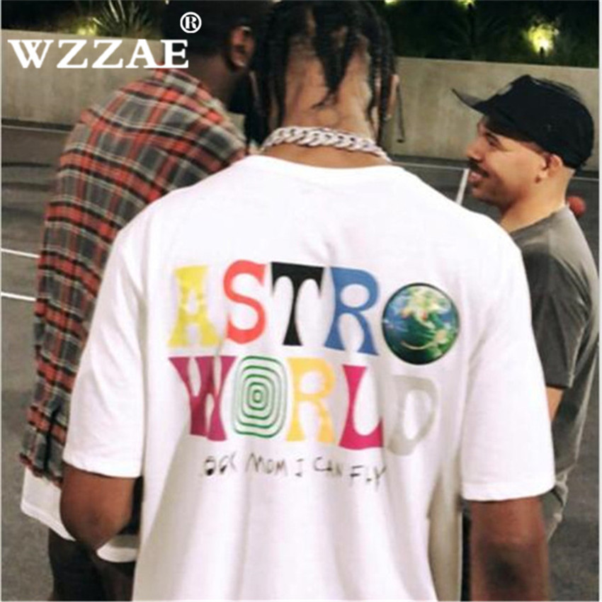 Hip-Hop T-Shirt Tees Letter Scotts HERE Wish-You Travis WERE Print Harajuku ASTROWORLD