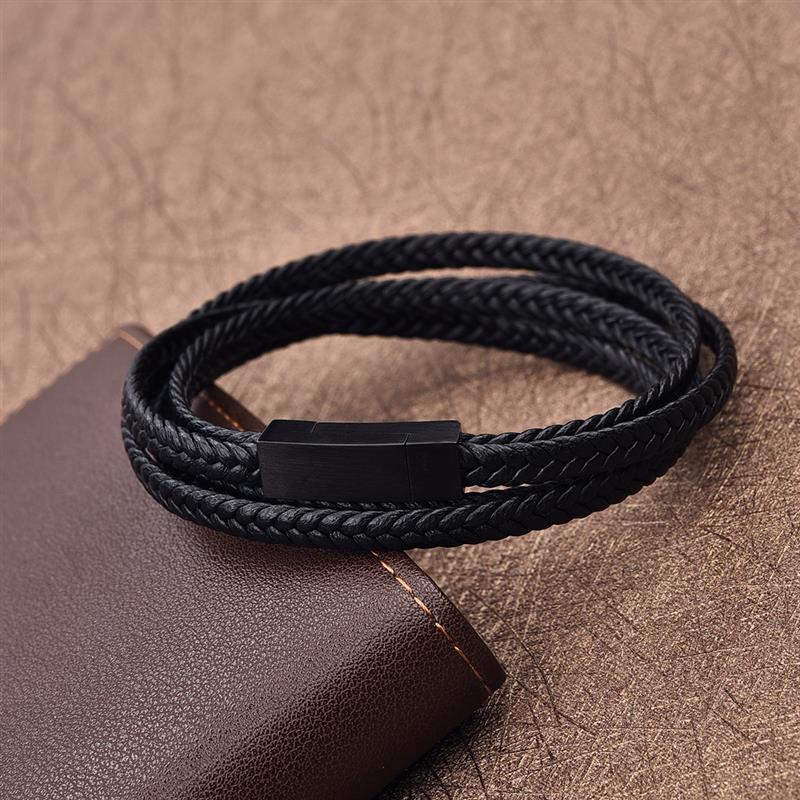 Jiayiqi Fashion Black Genuine Leather Bracelet Black Stainless Steel Clasp Multi Layer Braid Rope Chain Wristband Vintage Gifts vintage alloy braid bracelet