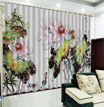 Curtain Custom Pink Delicate Lotus Flower Lucky Bird Swim 3D Landscape Curtains Fashion Simple And Practical