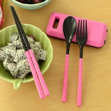 Mini Cutlery Dinnerware Outdoors Portable Travel Sets Candy Color Folding Dinner Set Student Kids Kitchen Tool