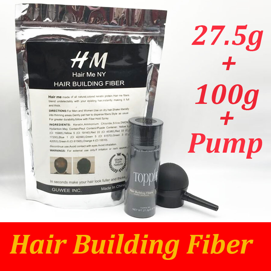 Toppik hair building fibers powder 25g bottle fibers spray applicator/pump add refill bag 100g hair fibers 3pcs/lot