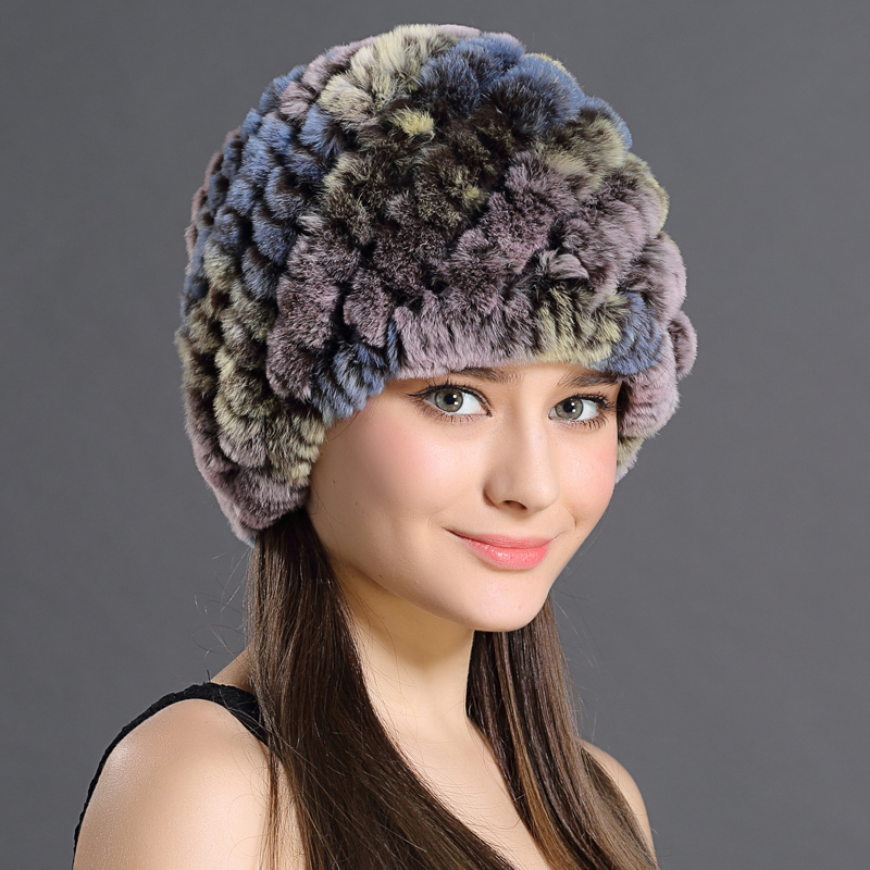 Women's Fur Beanies Knitted Pineapple Hat Natural Rex Rabbit Hats For Women Fashion Female Winter Cap Talior Made