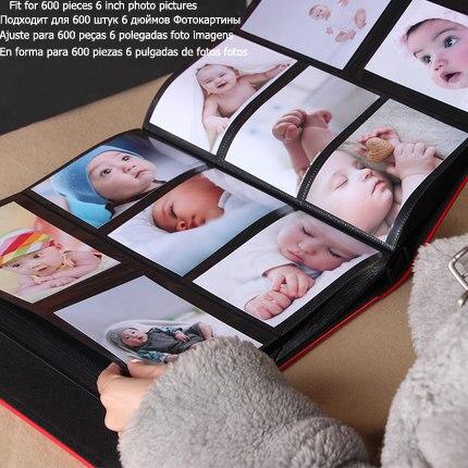 Rahmenlose 600 stücke Leder Fotoalbum Buch Gute Qualität Baby Familie Große Kapazität Phot Bild Galerie für 6 Zoll Fotos Decor