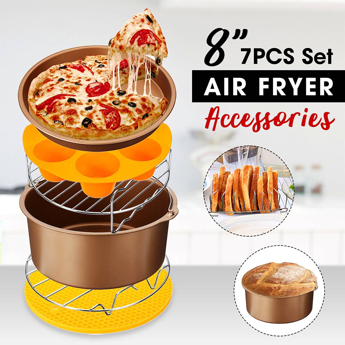 New 7-IN-1 8 inch Non-stick 7Pcs Air Fryer Accessories Baking Pizza Pan Kitchen Cooking Tool s Fit for all 4.2-6.8QT Air FryerNew 7-IN-1 8 inch Non-stick 7Pcs Air Fryer Accessories Baking Pizza Pan Kitchen Cooking Tool s Fit for all 4.2-6.8QT Air Fryer