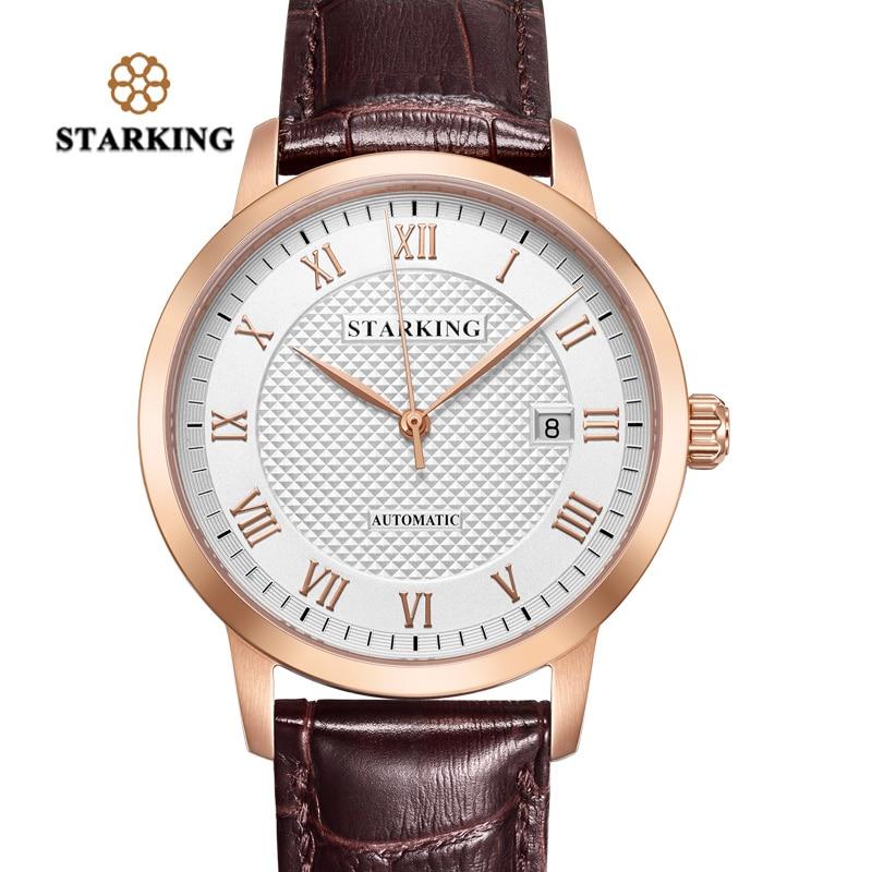 Старкинг Для Мужчин Скелет Механические часы Tourbillon Аналоговый Автоматическая Женева ремень из натуральной кожи Часы известных брендов AM0187