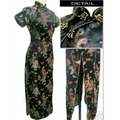 Black Chinese Lady Traditional Prom Gown Dress Long Cheongsam Qipao Button Costume Totem Pattern Oversized S TO 6XL S036-F