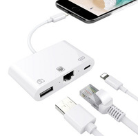Convertidor de cable de red para teléfono móvil para iPhone tarjeta de red con cable recto cable conector de cable de red con carga
