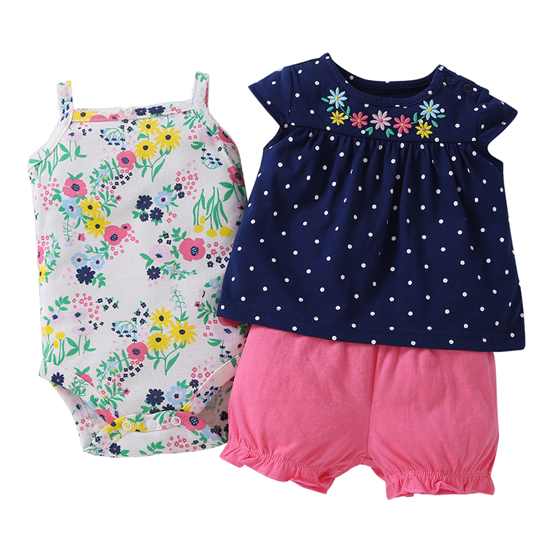 Brandwen 2017 Fashion Kids Bebes Baby Girl Clothes Set Summer Floral Baby Romper Style 3pcs Suit
