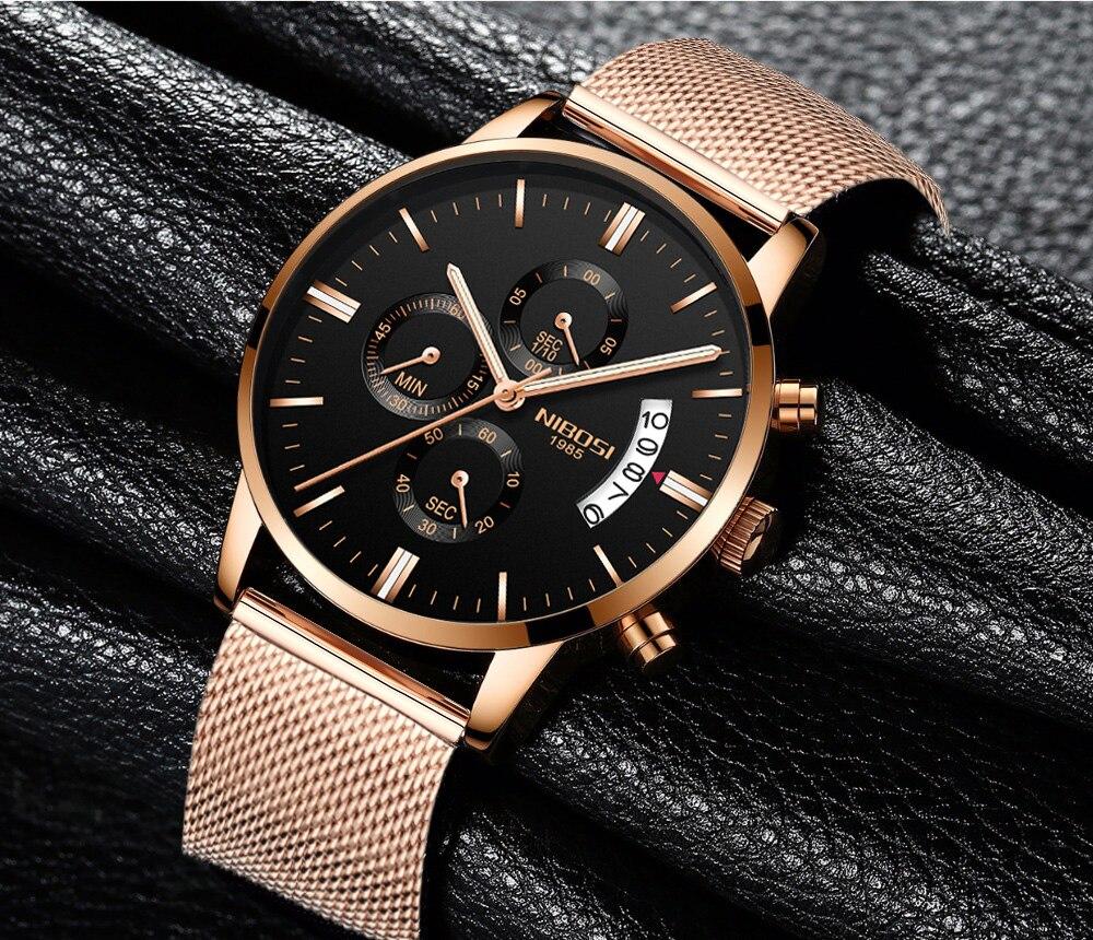 Free Shipping 2309 NIBOSI Relogio Men's Watch Fashion Casual Stainless Steel Mesh Strap Chronograph Quartz Wristwatches цена и фото