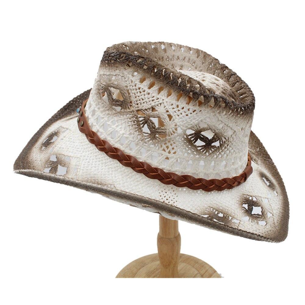 Efficient 2019 Women Men Sun Sun Hat Withturquoise Belt Handmade Weave Lady Gentleman Beach Sun Sombrero Cowboy Hat Size 58cm A0070 Vivid And Great In Style Apparel Accessories
