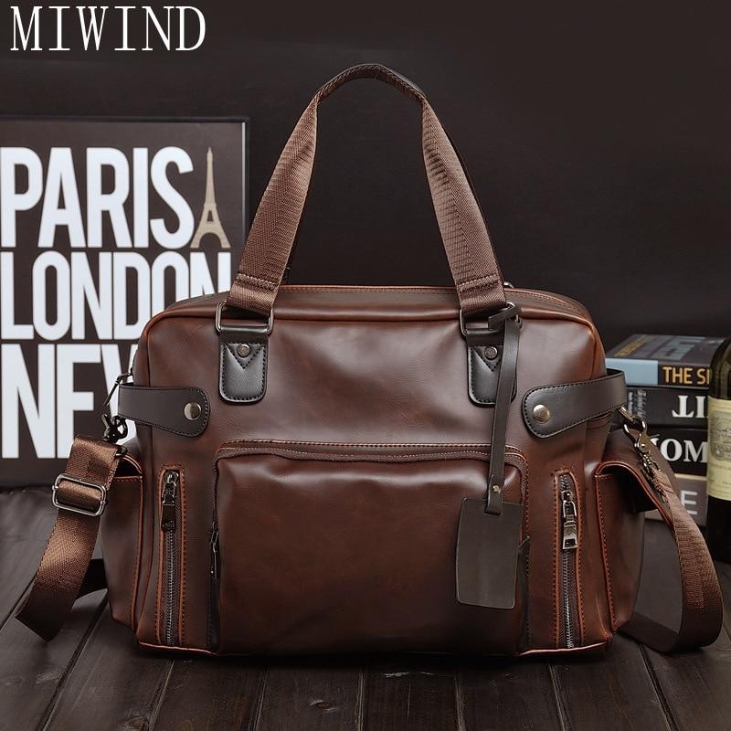 MIWIND Genuine Leather Bag Casual Men Messenger Bags Computer Laptop Handbag Bag Men's Travel BagsTYZ983 miwind 100
