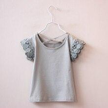 Sweet Girls T-shirt Summer Short Sleeve Girl Blouses Kids Cute Lace Ruffle Cotton Tops Bab