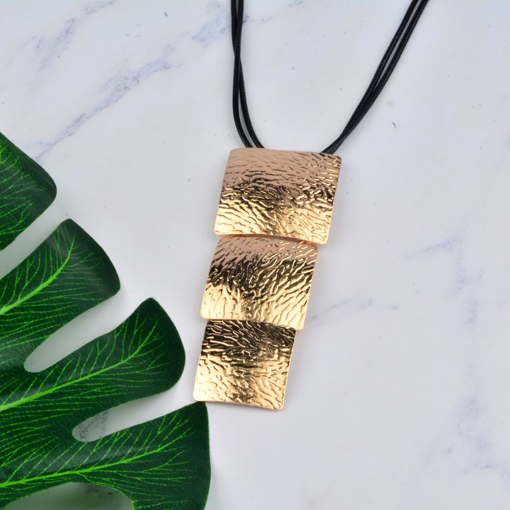 SINLEERY 2018 Kedatangan Baru Big Square Long Pendant Kalung Black - Perhiasan fashion - Foto 3