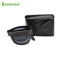 SOOLALA Marca Diseñador Plegable Espejo gafas de Sol UV400 Mujeres Forman el Cuerno Montura Plegable gafas de Sol Para Hombre con Compacto de Bolsillo