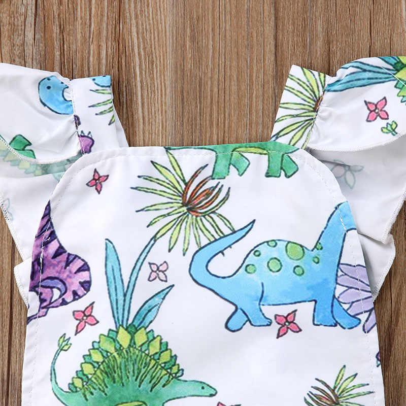 Ромпер с динозавром 2018 Одежда для новорожденных; для маленьких девочек с оборками; платье без рукавов, с рисунком, для девочек сплошной комбинезон летней детской одежды, для детей