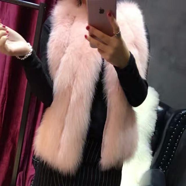 Elegant Pink Fox Fur Vest Genuine Natural Fur Coat For Girl 2017 Waistcoat Short Vests Women Real Fur Vest Sleeveless