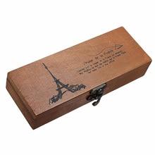 Retro Eiffel Tower Storage Box Pen Pencil Case Holder Stationery Storage Wooden Box Wood Nostalgic Retro Rectangle Pen Carrier