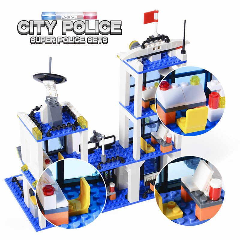 818pcs SWAT Delegacia de Polícia Da Cidade Blocos de Construção Do Carro Compatível Legoinglys GB27 Da Polícia Da Cidade de Tijolos Menino Amigos Brinquedos para Crianças