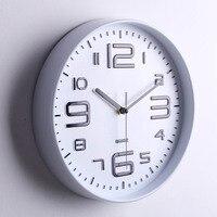 Современный минималистский белый Настенные часы Спальня немой часы Гостиная круглые металлические часы настенные украшения дома
