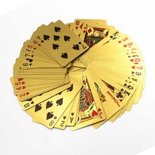 24K playing cards gambling table KTV party game props wedding gifts gold foil poker dollar style golden carat