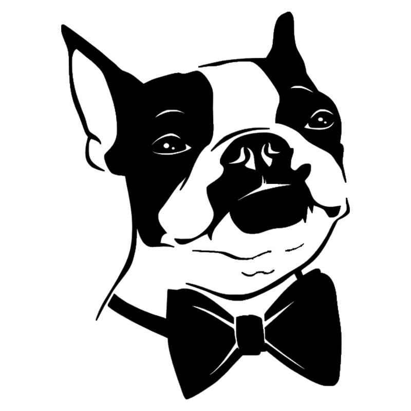 15*20.3CM Bow Tie Boston Terrier Dog Vinyl Decal Funny Car Stickers Car Styling Truck Accessories Black/Silver S1-1061