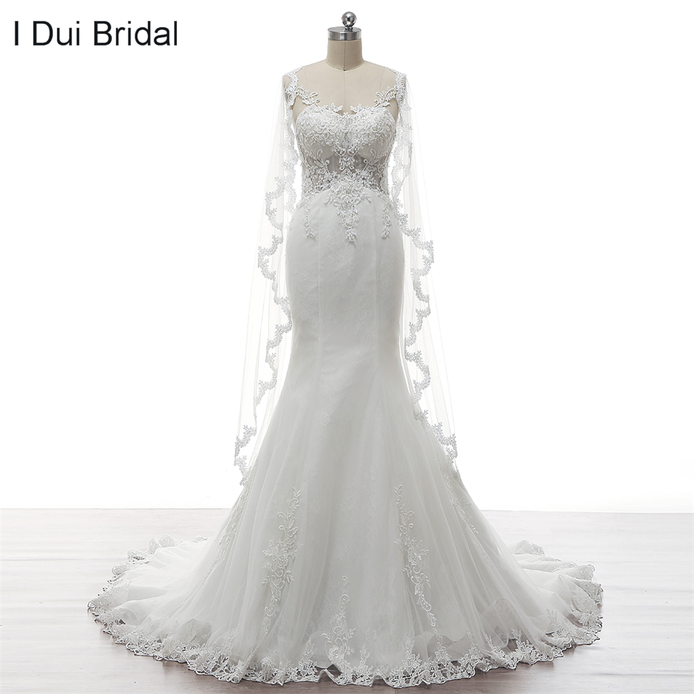 illusion corset see through back mermaid wedding dresses with scarf lace beaded factory high quality real
