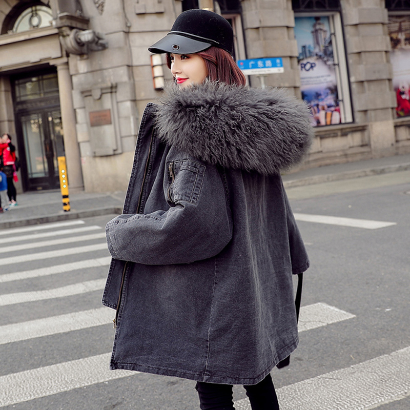 Denim Coat Women 2019 New Winter Cotton Jacket Loose Casual Parkas Coat Female Hooded Warm Coat Outerwear AN025(China)