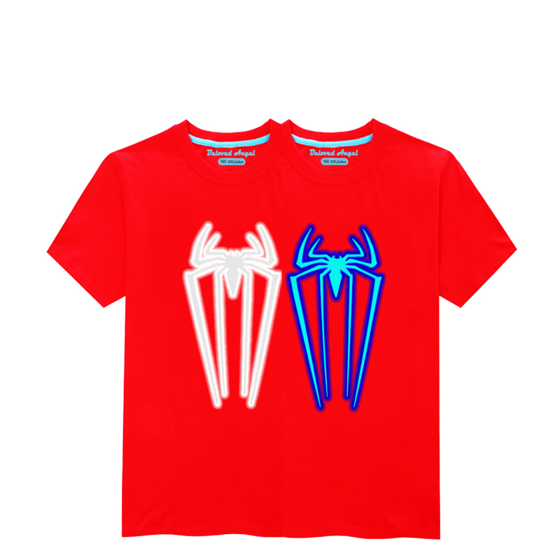 HTB16U4SR8LoK1RjSZFuq6xn0XXac - Luminous Short Sleeves T-Shirt For Boys T Shirt Spiderman Christmas Teen Girls Tops Size 3-15 years Teenage Toddler Boy Tshirts