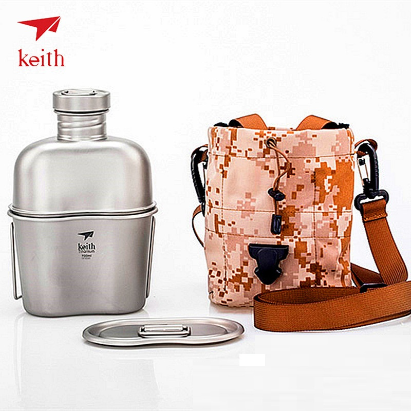 Keith Titanium 1100ml Military Kettle and 700ml Titanium Lunch Box Camping Army Water Bottles Water Cooker with Camouflage Bag