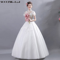 SOCCI Weekend French Elegant Princess Wedding Dresses 2017 Appliques Lace Flowers Shawl China Bridal Beading Formal