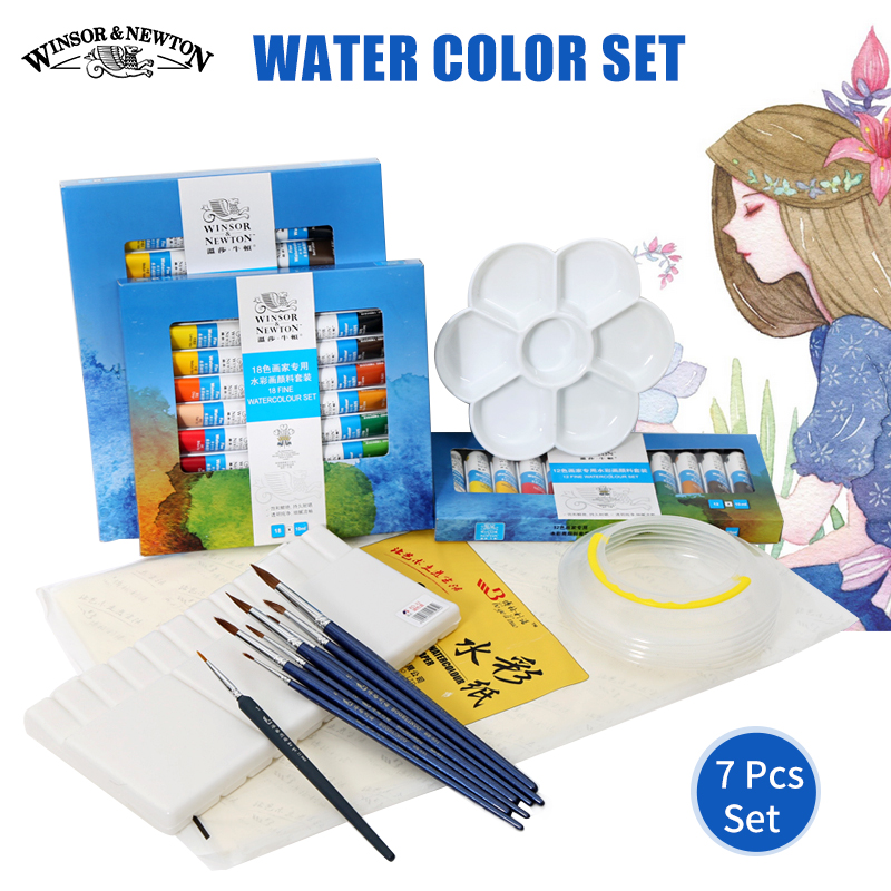 Winsor&Newton 12/18/24 Water Color Set High Quality Solid Watercolor Paints Pigment Set For Art Kids Drawing Painting Supplies купить