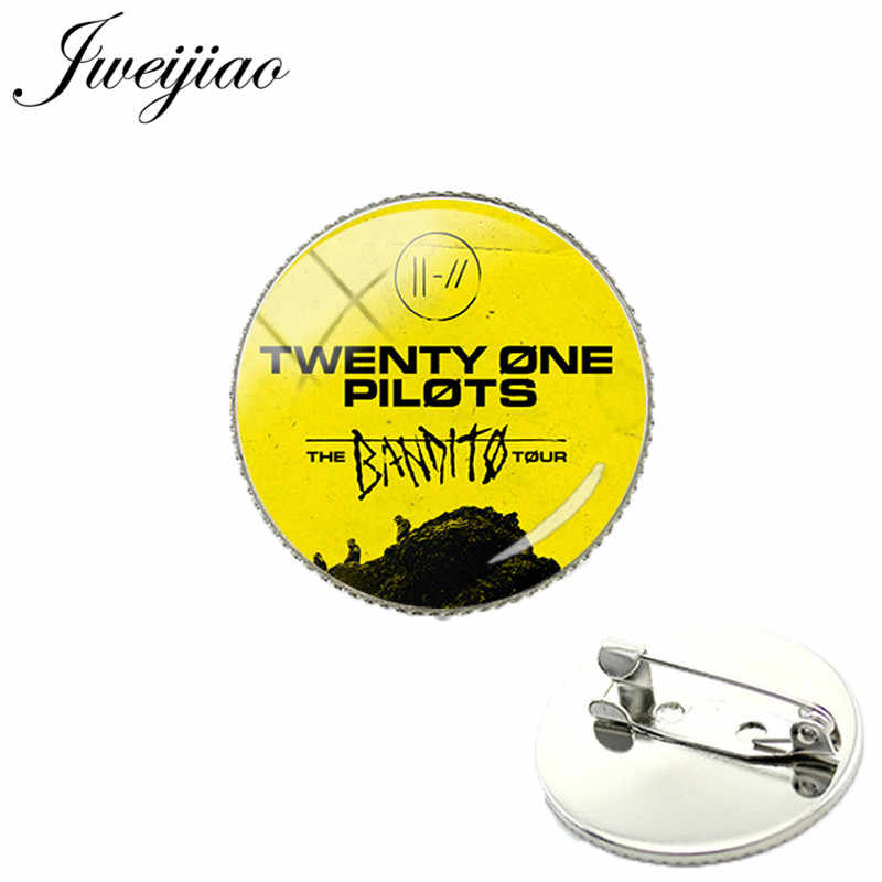 JWEIJIAO Twenty One Pilots Music Band Sign Symbol Brooch Badge Glass Cabochon Dome For Bag Clothes Decoration Pins For Fans TO25