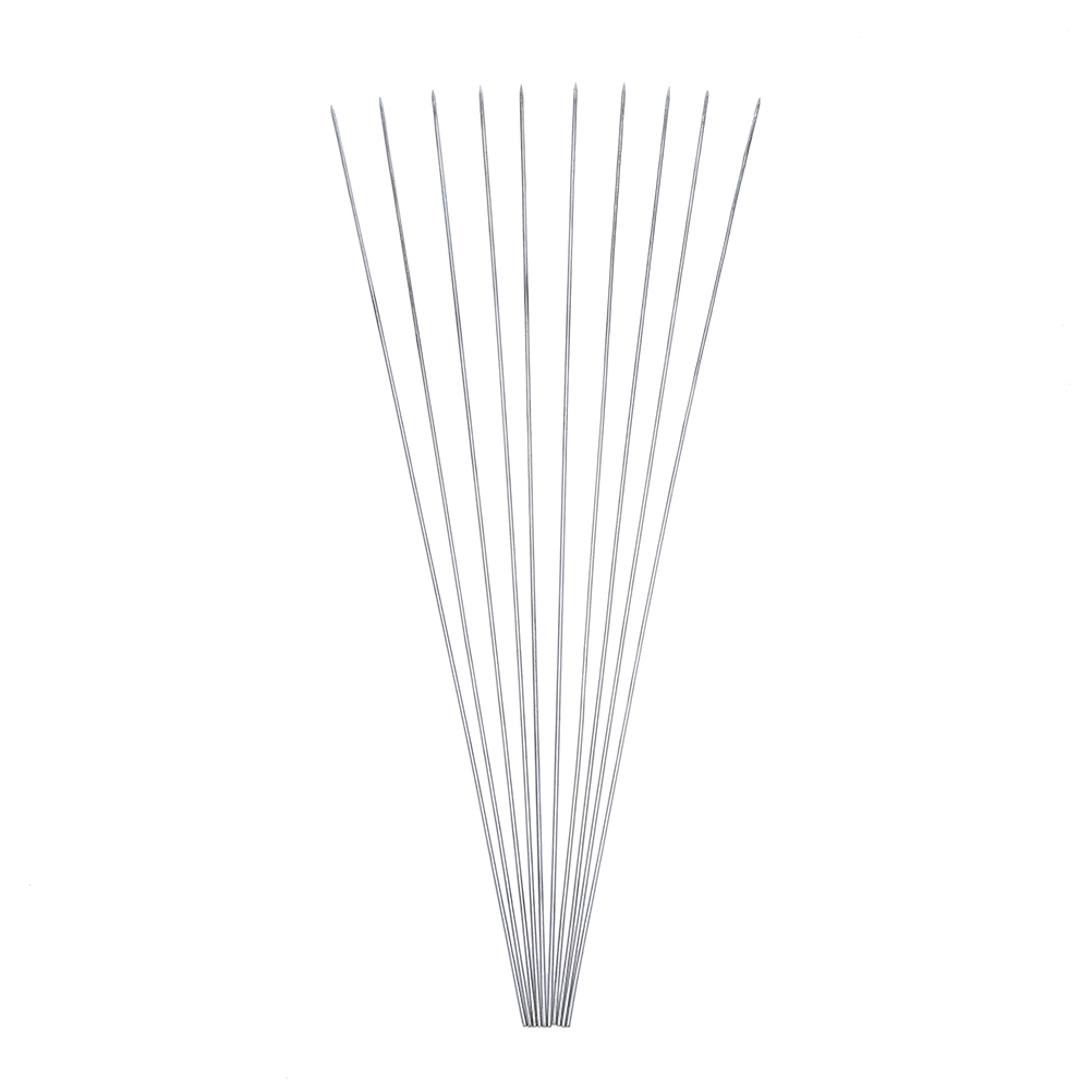 10×Stainless Steel BBQ Skewers Round Stick Meat Roast Needle Outdoor Camp Picnic