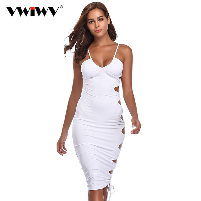 d53aa308c8cf VWIWV 2018 Summer Women White Dress V-neck Solid Sexy Club Dress Hollow out  Sleeveless Slim Side Cut out Bodycon Dress