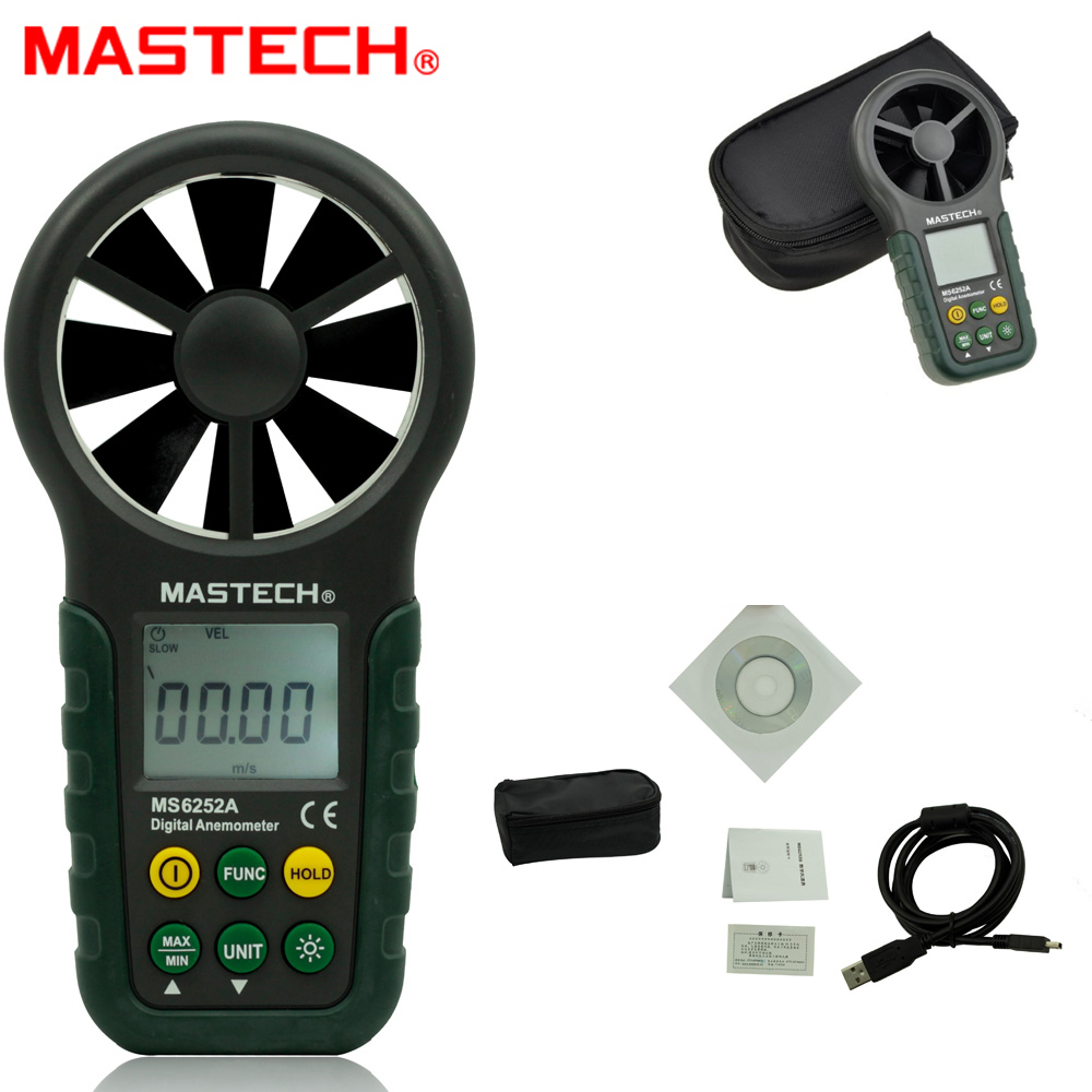 MASTECH MS6252A Handheld Digital Anemometer Wind Speed Meter 0.001~ 9.999 square meters Air Flow Tester with Bar Graph az8904 handheld digital anemometer wind speed meter wind speed tester electronic measuring instruments air volume meter